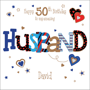 Image Is Loading Personalised 50th Birthday Card Husband Boyfriend Any Age