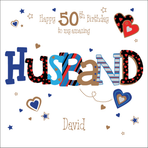 Personalised 50th Birthday Card Husband Boyfriend Any Age Name