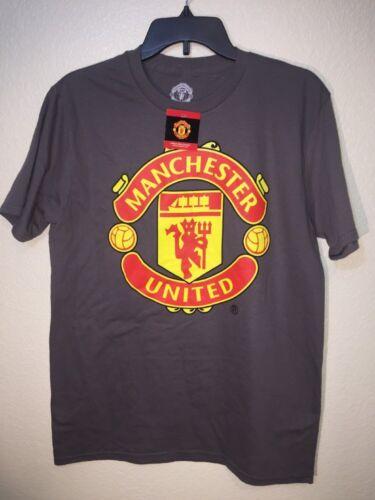 Manchester United England Red Devils Mens Gray Soccer Print T-Sh