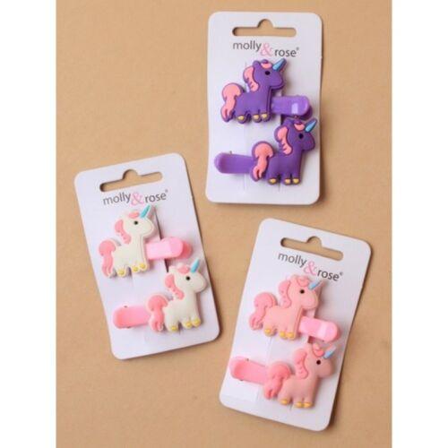 Pack of 6 Unicorn Motif Small Hair Clips Bendies Girls Hair Accessories