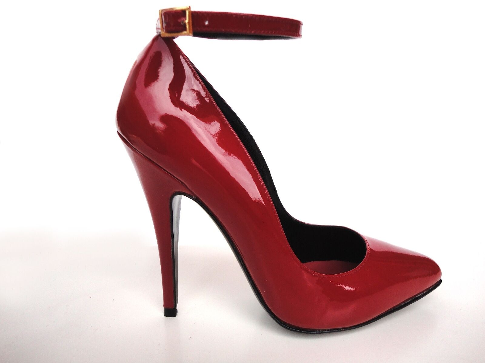 ERNEST ANKLE STRAP HEEL PUMPS ITALY SCHUHE DECOLTE PATENT LEATHER RED red 37,5