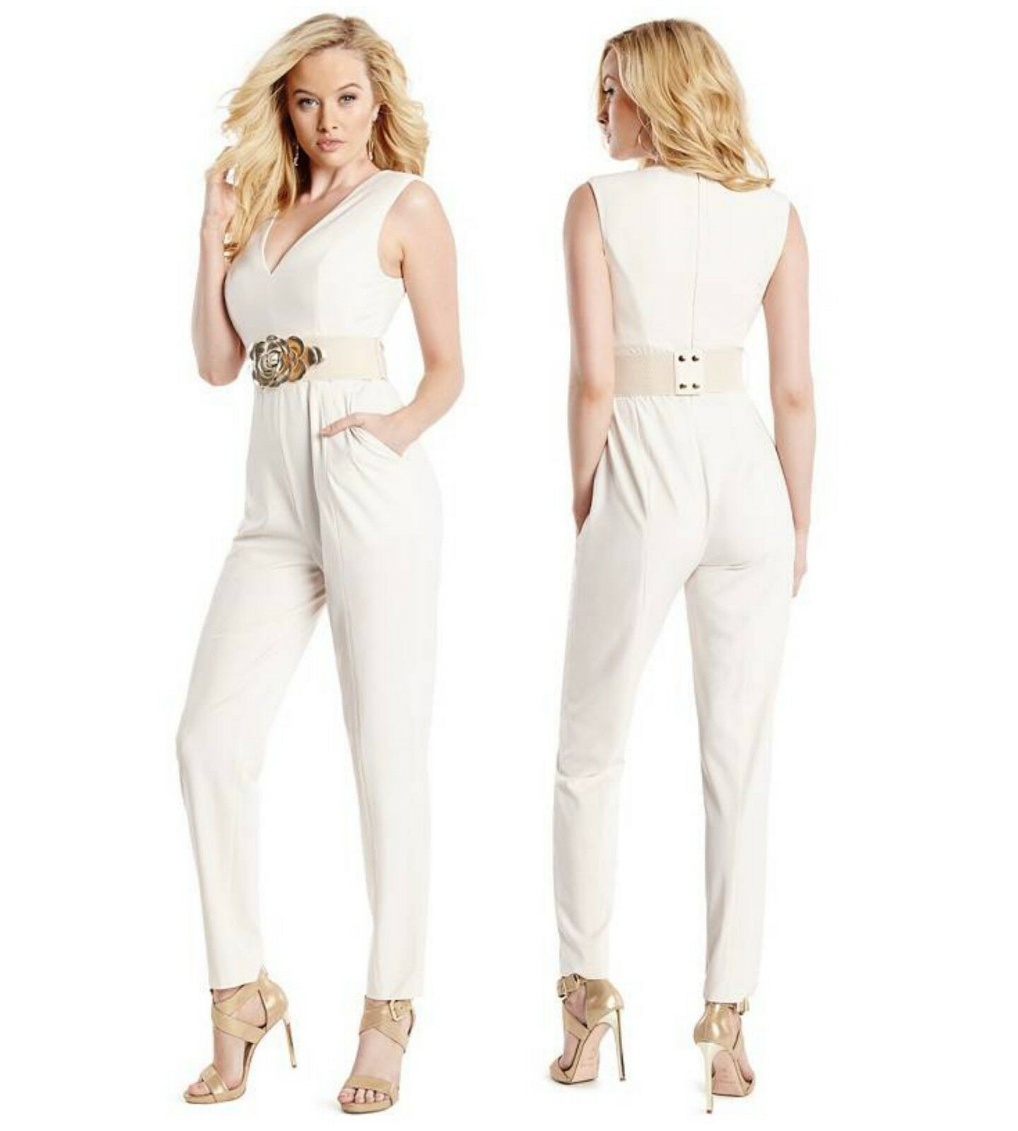 GUESS BY MARCIANO KELSI FLORAL BELT JUMPSUIT