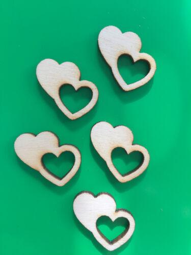 20 X en bois Mini Love Coeurs Embellissement Carte Artisanat Scrapbook Art sd318