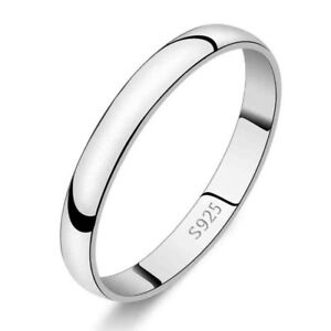 Genuine-925-Sterling-Silver-Solid-2mm-Thin-Classic-Plain-Band-Wedding-Ring