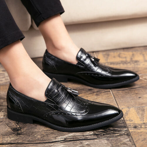 Details about  /Large Size Mens Low Top Leisure Faux Leather Shoes Pointy Toe Oxfords Tassels L