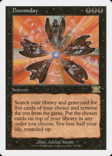 6th Edition MTG X1: Doomsday R Moderate Play FREE US SHIPPING!