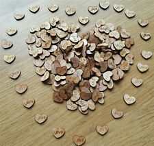100PC Rustic Wooden Wood Love Heart Wedding Table Scatter Decoration Crafts