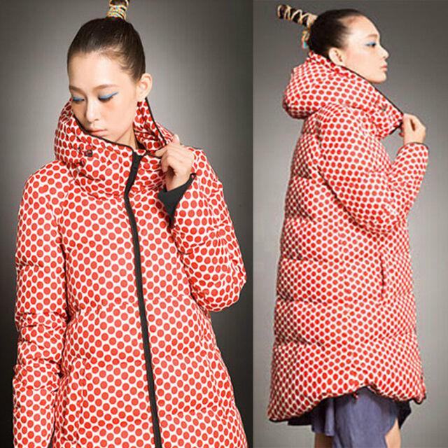 NEW Arrival Women's Casual Parka Duck Down Dot Jacket Hooded Winter Long Coat
