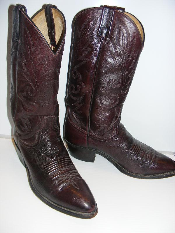 DAN POST BOOTS Mens Cowboy Western Cordovan Burgundy LEATHER 9 Gorgeous Cond
