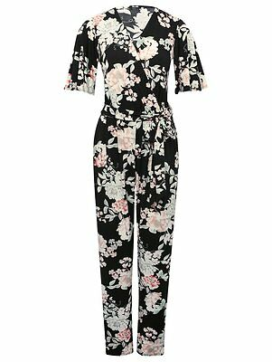 M & Co Black Floral Print Stretchy Short Sleeved Jumpsuit with V Neckline