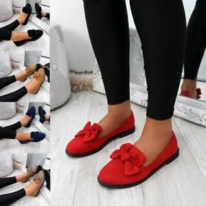 WOMENS-LADIES-BOW-BALLERINA-PUMPS-FLATS-SLIP-ON-BALLET-CASUAL-WORK-SHOES-SIZE