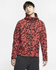 Nike Men S Large Tech Fleece Red Black Camo Full Zip Hoodie Track Jacket Top Ebay