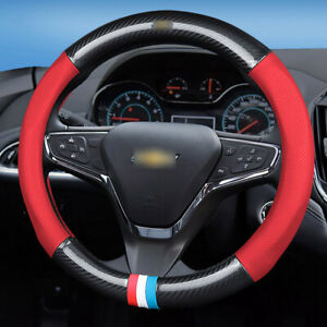 carbon-fiber-PVC-red-leather-car-steering-wheel-Glove-cover-for-Chevrolet-Cruze