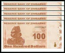 TWN - ZIMBABWE 97 - 100 D. 2009 UNC Prefix AA Dealers x 5