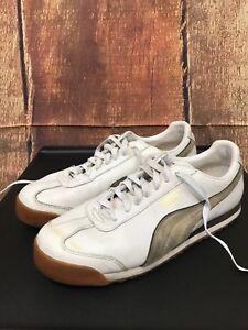 Men's Puma Roma White/Brown Leather