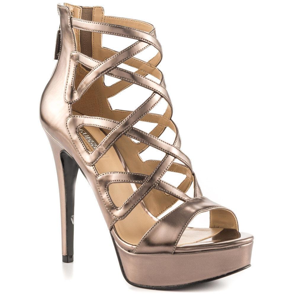 GUESS GW Kadani2 8.5 Light pink gold Pink Metallic Leather Platform Sandals NEW