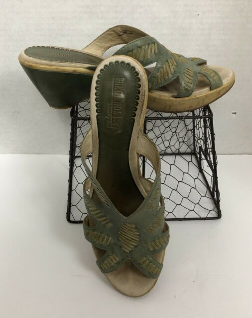 Pikolinos Wedge Sandals Green With Tan Stitch Trim Women's 10-11