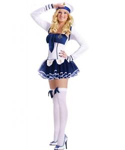 Ladies Sexy Sailor Costume Outfit 4 Piece Dress Cap Bolero & Thong Size 10-12