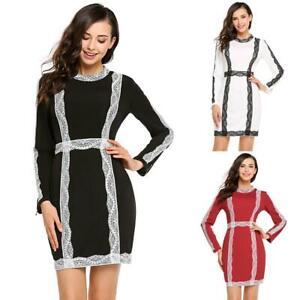 Women-Long-Sleeve-Lace-Patchwork-Bodycon-Pencil-Mini-Dress-H1PS-01