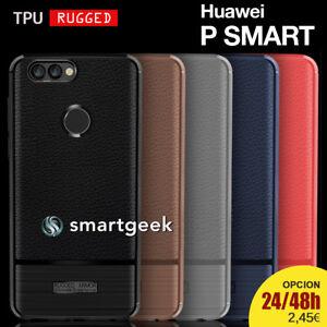 FUNDA-TPU-Gel-RUGGED-para-HUAWEI-P-SMART-efecto-cuero-carbon-leather-case