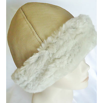 NEW women's Beanie Russian Beige Sheepskin Shearling Fur Hat Real Leather Warm