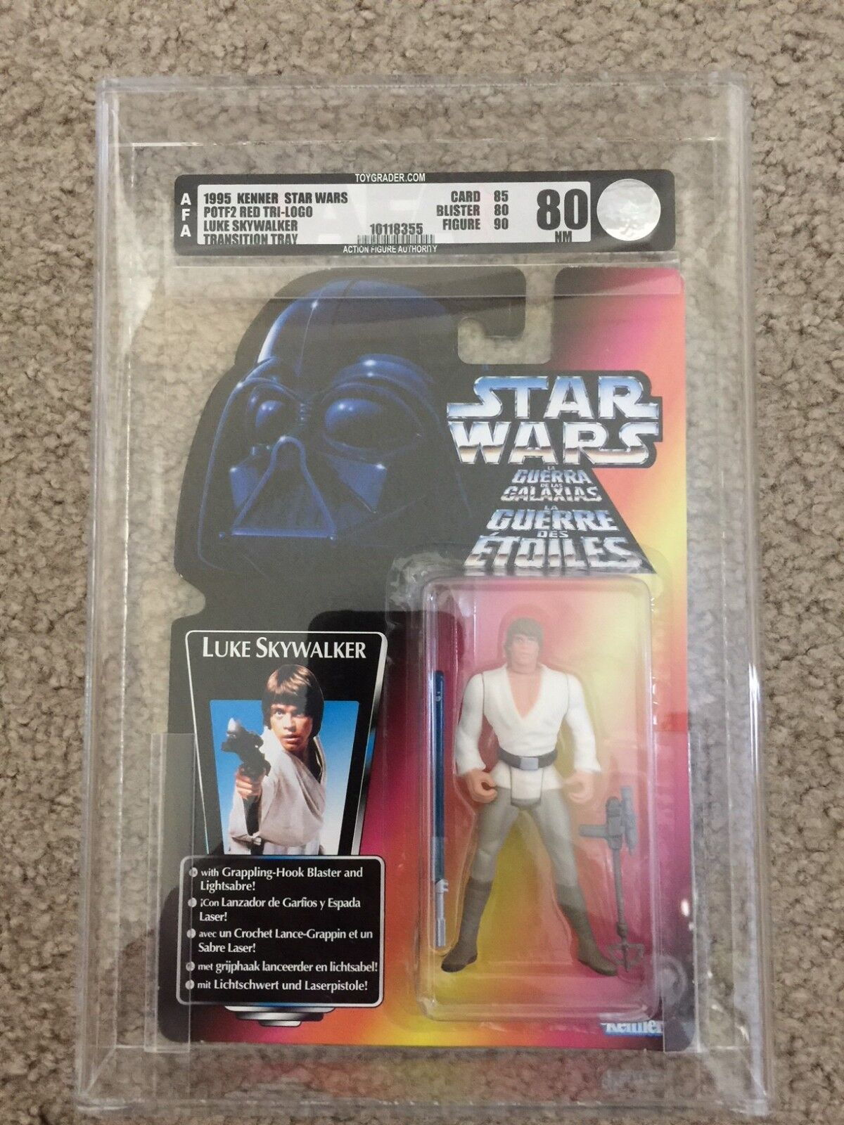 STAR WARS 1995 POTF Tri-Logo Luke Skywalker Transition Plateau SS LT MOC AFA 80