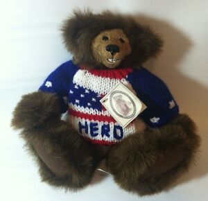 Kimbearly-039-s-Originals-Resin-Face-Leather-Tag-Numbered-Soft-Body-Teddy-Bear-HERO