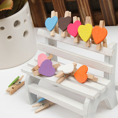 12Pcs Mini Love Heart Wooden Clothes Photo Paper Peg Pin Clothespin Craft Clips
