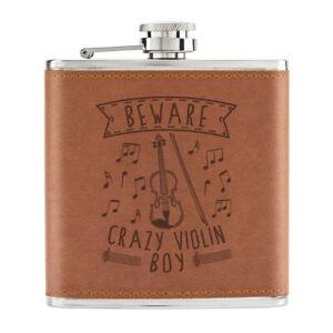 Attention-Crazy-Violon-Garcon-170ml-Cuir-PU-Hip-Flasque-Fauve-Musique-Son