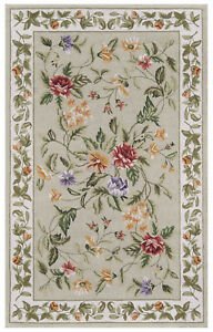"""AREA RUGS - """"PROVENCAL FLORAL"""" HAND HOOKED WOOL RUG - GREEN - 2' X 3'"""