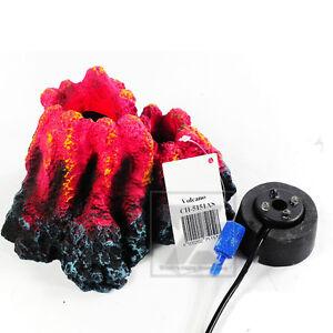 Aquarium-Fish-Tank-Underwater-Volcano-Red-Led-Light-amp-Bubble-Decoration-Ornament