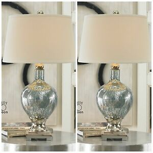 Two Blue Mercury Glass Table Desk Lamps Chrome Plated Metal Accents