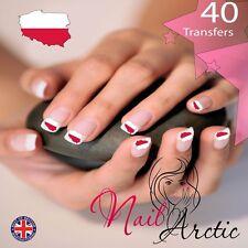 Poland Polish Flag nail Wraps Water Transfers Decal Art Stickers x 40