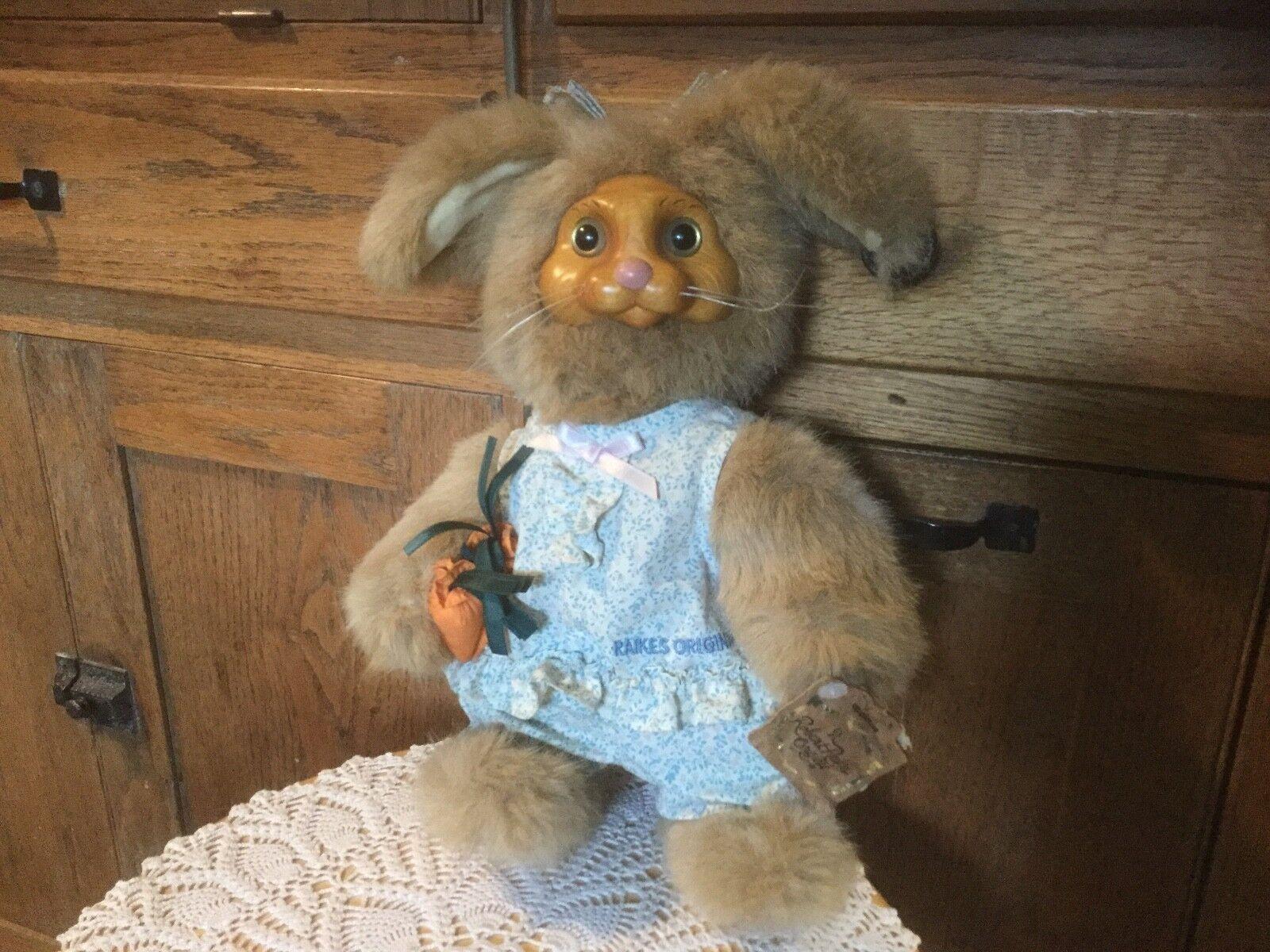 Pre Owned Robert Raikes Originals.  Stuffed Animal.  Bunny.  Wooden Face, feet.