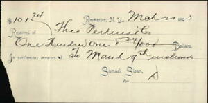 1893 Rochester New York (NY) Receipt Samuel Sloan Theo Perkins Co.