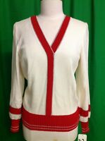 Ming Wang Design Toula Jacket Top Cardigan Knit White Red Silver Size 8