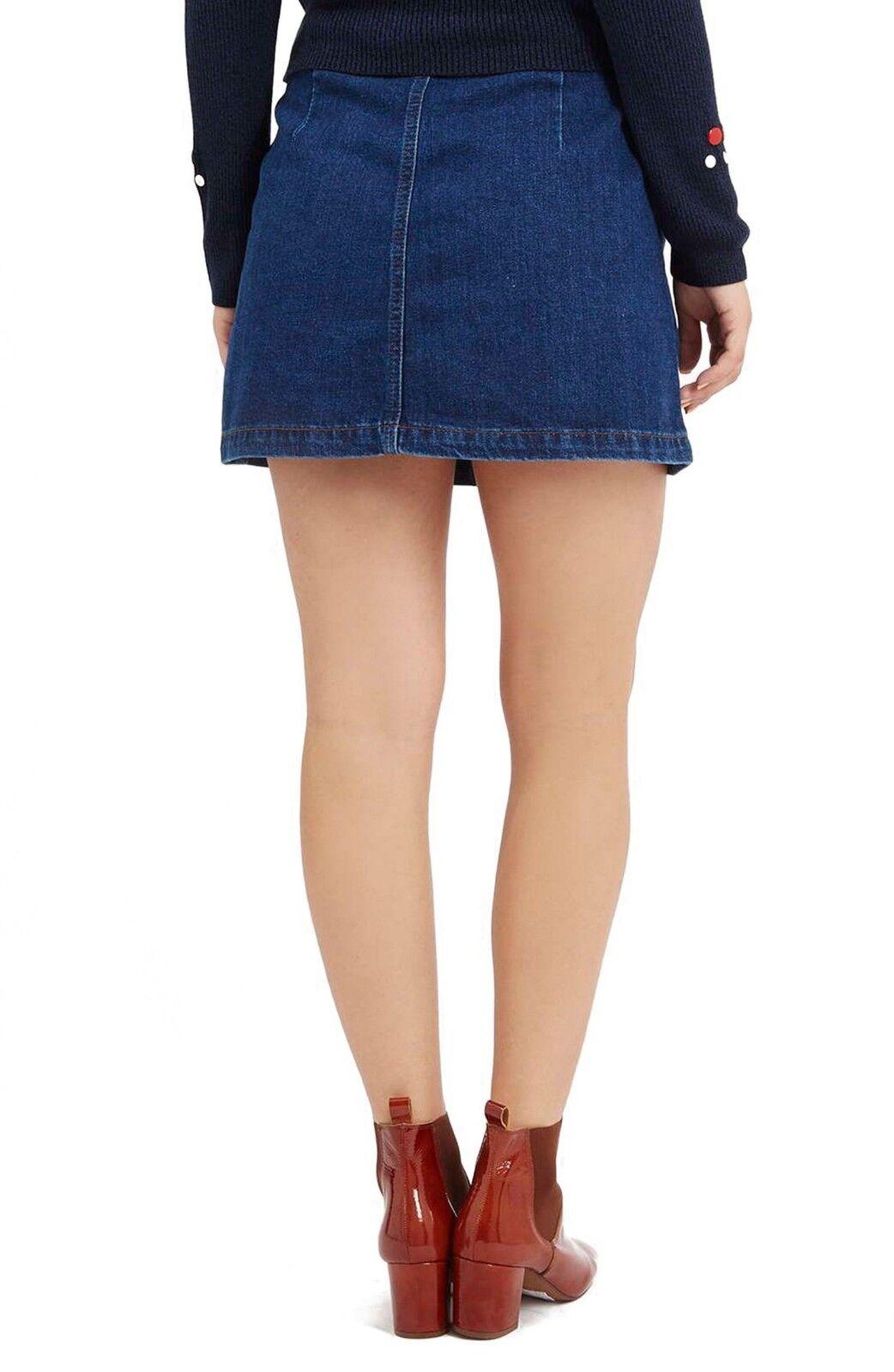 TOPSHOP Button Front Blue Denim Skirt A-Line Cott… - image 2
