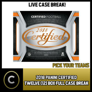2018-PANINI-CERTIFIED-FOOTBALL-12-BOX-FULL-CASE-BREAK-F001-PICK-YOUR-TEAM
