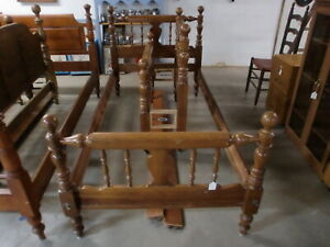 Cherry-Twin-Size-Poster-Bed-with-Wood-Side-Rails-Nice