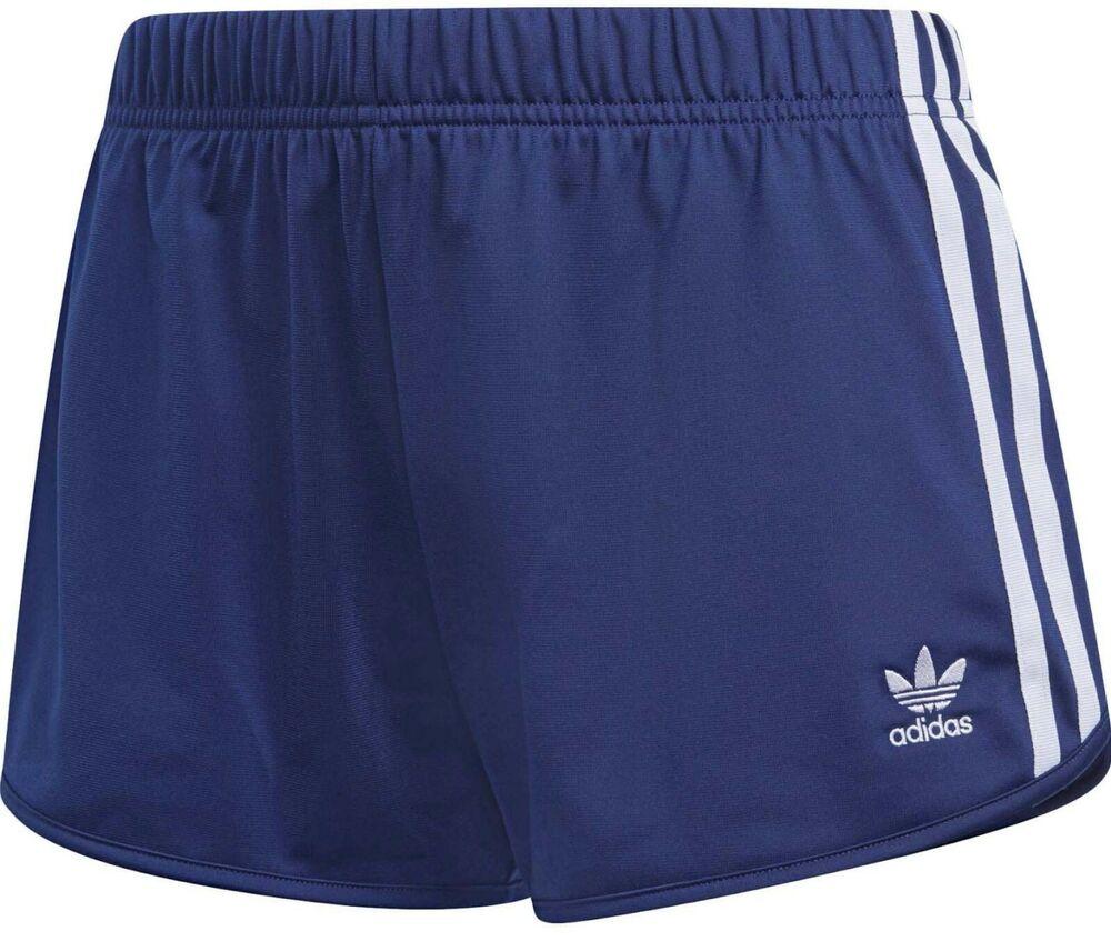 Adidas Originals 3 Rayures Short Bleu-tailles Uk 8,10 Bnwt 2 Dernier