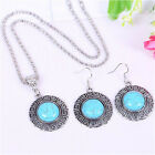 Vintage Tibetan Silver Turquoise Pendant Necklace Stud Earrings Jewelry Sets
