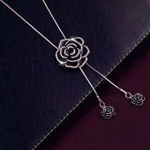 Noir-Rose-Fleur-Collier-Pendentif-long-pull-chaine-Femme-Cristal-Jewelry-Gift