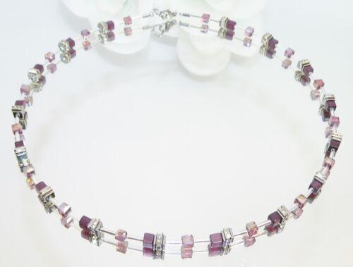 Halskette Würfelkette Cube Würfel Cat Eye purple Kristallglas lila Strass 502h