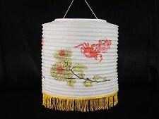 "11.5"" Chinese Japanese Paper Lantern White Yellow Flowers Red Crab Wedding Decor"
