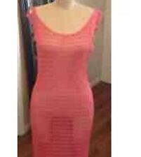 Gorgeous Pink Crochet Knit Boat Neck Maxi Swimsuit Cover Up Dress