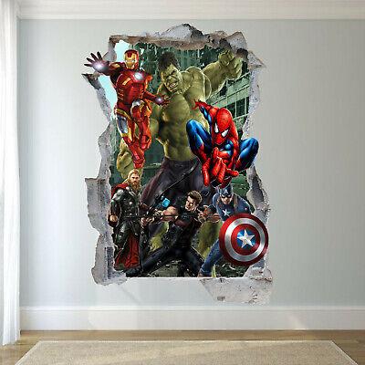 Avengers Hulk Spiderman Ironman Wall Sticker Art 3D Decal ...