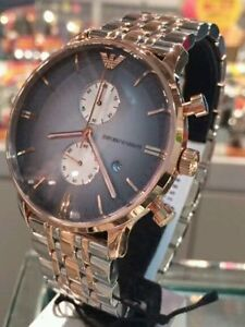 NEW-EMPORIO-ARMANI-AR1721-TWO-TONE-STAINLESS-STEEL-CHRONOGRAPH-MEN-039-S-WATCH
