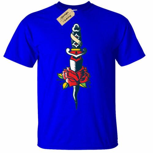 Rose Dagger Tattoo T-Shirt Mens