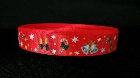 2268 Weihnachtsglocken auf Rot 22mm breite Ripsband Webband Borte