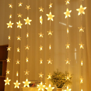 Christmas Light Curtains.Details About Curtain Window Fairy Lights Hanging Star Led Drop Stripes Christmas Home Decor